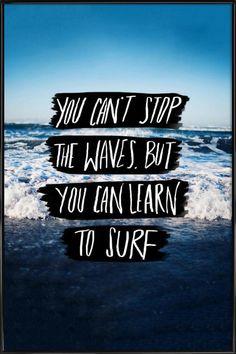 Learn to Surf als Poster im Kunststoffrahmen von Leah Flores | JUNIQE