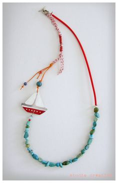 Boat full of hopes Necklace Summer Colors by StudioCreativoGreece Textile Jewelry, Fabric Jewelry, Metal Jewelry, Beaded Jewelry, Beaded Necklace, Handmade Bracelets, Earrings Handmade, Handmade Jewelry, Jewelry Crafts