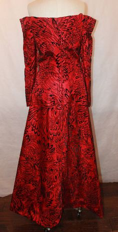 Scaasi 1990's Vintage Red & Black Long Sleeve Gown - 8 | From a collection of rare vintage evening dresses at https://www.1stdibs.com/fashion/clothing/evening-dresses/