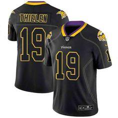 059e6e483eb Nike Minnesota Vikings  19 Adam Thielen Lights Out Black Men s Stitched NFL  Limited Rush Jersey