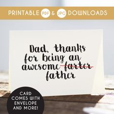 printable dad card digital dad card fathers day by TheLittlePiper