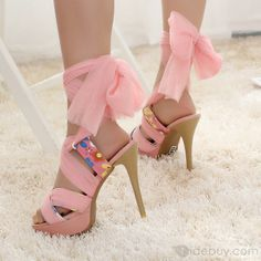 Unique Designed Chic High Quality PU Peep Toe Stiletto Heels Lace-up Roman Style Pink Sandle : Tidebuy.com