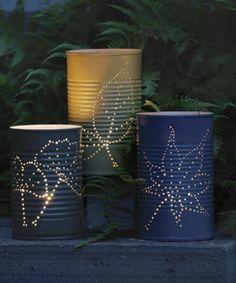 moderne lampen selber machen - draußen grüne pflanzen romantische atmosphäre