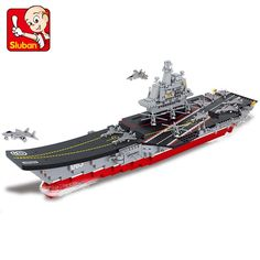 Sluban 2017 New 0399 1:450 Aircraft carrier Antisubmarine helicopters Building Block Toys Set ship 3D Bricks DIY Free Shipping