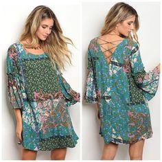 Last One! Stunning Jade Bell Sleeve Swing Dress