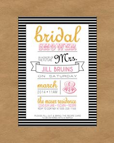Striped Bridal Shower Invite. Black and White with Gold glitter!