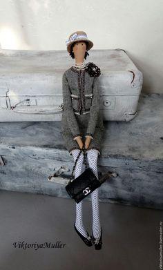 Купить кукла тильда ручной работы ШАНЕЛЬ 2 - серый, кукла ручной работы