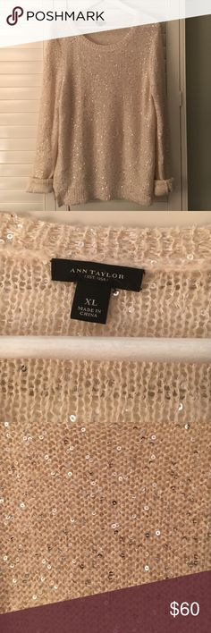 Ann Taylor Sequin Sparkle Sweater This is perfect for the holidays! So cute! Ann Taylor Sweaters Crew & Scoop Necks
