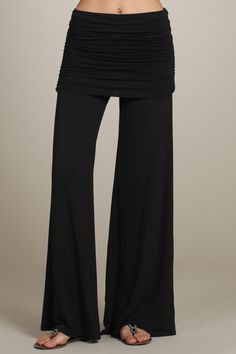 Versatile, Comfy Black Wide leg pants with flattering ruched fold-over waist ~ 95%Viscose/5% Spandex ~ Made in the USA ~ Available now @ BramaSole Tanning & Boutique or online at our FB Store https://www.facebook.com/BramaSoleSalon/app_410312912374011