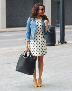 The 4 Jackets Every Woman Needs For Fickle Spring Weather.  The Denim Jacket: Look for an updated version of the tried-and-true staple such as this woman's moto cut. Pair it with a polka-dot dress and bright heels for a work-worthy outfit. [Pin It]
