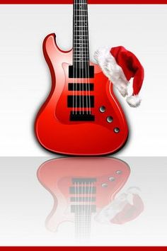 Red Guitar Rock Christmas iPhone Wallpaper