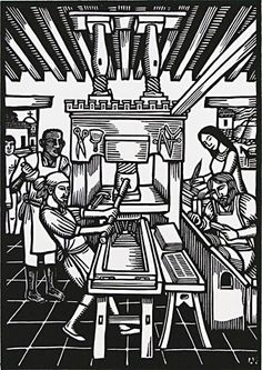 Juan Pablos, 1st printer of the Americas, 2008 - Linocut by Artemio Rodriguez.