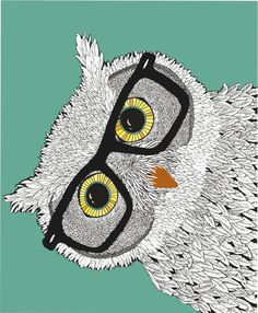 Owl Wearing Glasses by Woosah on Etsy, $15.00