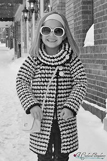 Girls Vintage Houndstooth Jacket by A Crocheted Simplicity, using Red heart With Love Yarn
