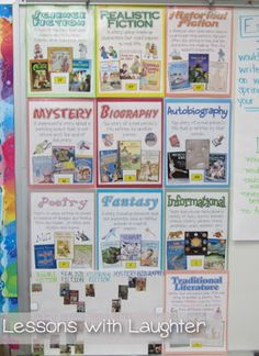Lessons with Laughter: Genre Posters–instructions for using Scholastic catalogs to teach kids about the different literary genres. Source by shonnaslayton Genre Lessons, Library Lessons, Reading Lessons, Library Ideas, Library Skills, Reading Resources, Reading Activities, Reading Genre Posters, Reading Genres