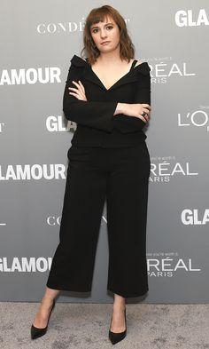 Lena Dunham in a black CInq a Sept jumpsuit