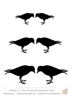 Crow Silhouette Template Collection, Free Printable Bird Silhoutte Stencils at www.milliande-printables.com