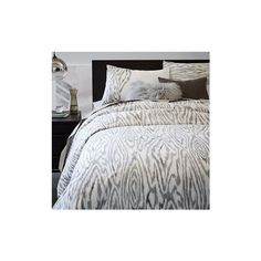 West Elm Woodgrain Ikat Duvet Cover, King, Slate - Duvet Covers -... ($40) ❤ liked on Polyvore featuring home, bed & bath, bedding, duvet covers, grey, grey duvet, ikat duvet, west elm bedding, grey pillow shams and gray ikat bedding