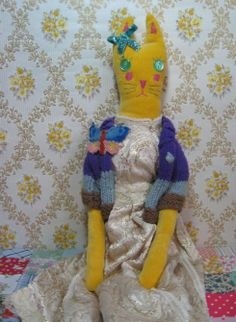 Another fantastic hand made creation . this is Mildred. She sits opposite our bed (much to my boyfriends delight!) she is wearing the most beautiful vintage dolls dress. she's made from an almost rough feeling bright yellow velvet. Bright Yellow, Softies, Vintage Dolls, My Boyfriend, Boyfriends, Vintage Inspired, Needlework, Dinosaur Stuffed Animal, Most Beautiful