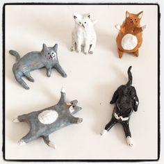 ceramic snippets - teeny tiny shiny cats
