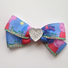 Peppa Pig Hair Bow Clip with Heart Sparkle Bling by OliverandMay, $5.25