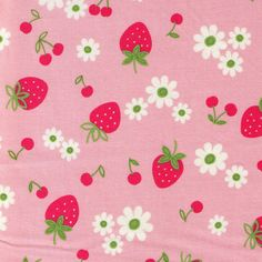 HALF YARD Yuwa Fabric Strawberries Cherries and by fabricsupply, $7.00