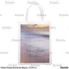 Shop Clean Ocean Groceries Bag created by JFJPhoto. Clean Ocean, Reusable Grocery Bags, Save The Planet, Carry On Bag, My Design, Cleaning, Image, Clutches, Hand Luggage