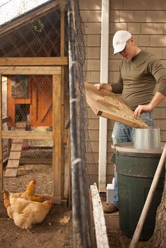 Some really good ideas here - catching spilled chicken feed, DIY automatic door opener and closer