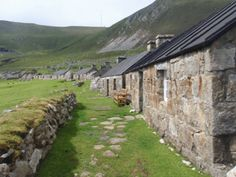 Abandoned houses on the island of St. Kilda, Scotland, now completely uninhabited.