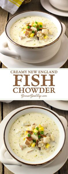 Creamy New England Fish Chowder This classic creamy fish chowder uses simple ingredients and tastes like restaurant quality. - This classic creamy New England fish chowder uses simple ingredients and tastes like restaurant quality. Chowder Soup, Chowder Recipes, Seafood Recipes, Soup Recipes, Cooking Recipes, Beef Recipes, Sausage Recipes, Sea Food Chowder, Mexican Recipes