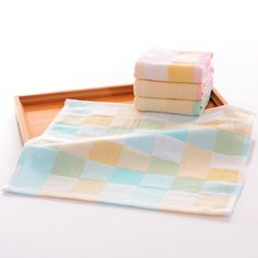 Colorful Square Towel 26x26cm 100% Cotton 2 Layers Lattice Soft Cute For  Infant Kid Children