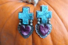 SOUTHWESTERN Navajo STERLING Turquoise & Spiny Oyster Cross Heart Clip EARRINGS