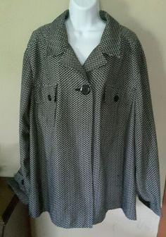 Maggie Barnes women's 3X 26/28W black white geometric jacket  #MaggieBarnes #BasicJacket
