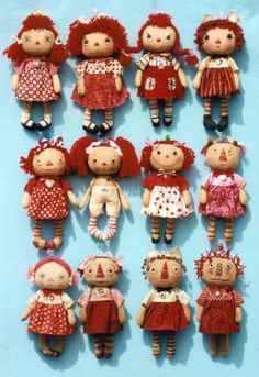 """Happy Heart My Little Annie The Pattern Hutch cloth stuffed doll craft pattern Raggedy AnnThis huge patterns has directions for 12 different Annie dolls ranging from """"so very cute"""" to """"just so raggedy""""! Lots of color photos. From cute to prim Dolly Doll, Ann Doll, Tiny Dolls, Soft Dolls, Fabric Dolls, Rag Dolls, Doll Crafts, Doll Clothes Patterns, Sewing Patterns"""