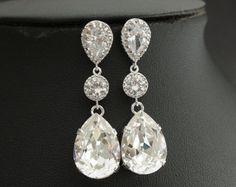 Wedding Jewelry Bridal Earrings Cubic Zirconia with Teardrop Clear Swarovski Crystal Silver Posts Wedding Earrings