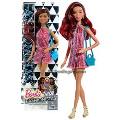 "Barbie Fashionistas 12"" Doll - GRACE (CLN63) in Pink Neck Strap Jumpsuit with Earrings and Purse"