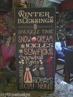 Primitive Winter Blessings Typography Sign
