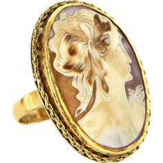 Estate 14 Karat Yellow Gold Russian Shell Cameo Large Cocktail Ring