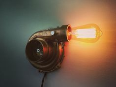 Turbo lamp of Edison. For loft and hi-tech inter . - Turbo lamp of Edison. For loft and hi-tech inter … – Informa - Garage Furniture, Car Part Furniture, Automotive Furniture, Automotive Decor, Custom Furniture, Metal Projects, Welding Projects, Car Parts Decor, Garage Design