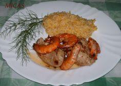 Bifes com Camarão e Arroz de cenoura com chuchu