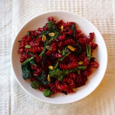 Beet Pasta with Spicy Broccoli Rabe and Portobello Bacon