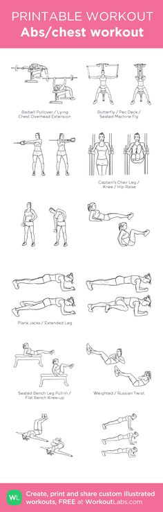 Abs/chest workout: my visual workout created at WorkoutLabs.com • Click through to customize and download as a FREE PDF! #customworkout