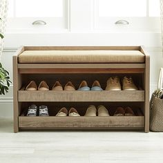 Rustic Driftwood Mercer Entryway Storage Bench - The Container Store - Hall Bench With Storage, Entryway Shoe Storage, Storage Bench Seating, Padded Storage Bench, Closet Storage, Space Saving Storage, Storage Bins, Diy Storage, Storage Ideas