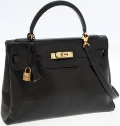Hermes 32cm Black Calf Box Leather Retourne Kelly Bag with GoldHardware. #heritageauction