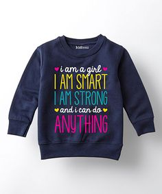 LC Trendz Navy 'I Am a Girl' Fleece Sweatshirt - Toddler & Girls by LC Trendz #zulily #zulilyfinds