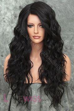 Long Wavy Black Hair Full Lace Wig 100% Remy Human Hair
