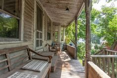 Front porch with view of the stream in front of the house