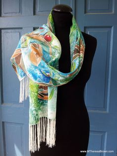 Exquisite warm horse colors, 14 x 72 fringed Silk Scarf silk by M Theresa Brown of onroadartists, $175.00
