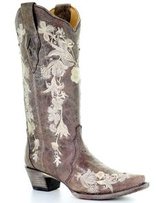Boots wedding Corral Women's Flower Embroidery Western Boots - Snip Toe Women& Western Boots with Flower Embroidery Corral - Snip Toe, Coffee Wedding Cowboy Boots, Dresses With Cowboy Boots, Cowboy Boots Women, Western Boots, Bride Boots, Western Wear, Wedding Dress Boots, Country Wedding Boots, Cute Cowgirl Boots