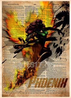 Phoenix art print, Xmen Phoenix art, female superhero art, superhero splatter art, Dictionary print art